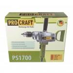 Bormasina cu percutie multifunctionala Procraft PS1700, 0-600 rpm variator, 1700W, mandrina cu 3 bacuri, Maner demontabil