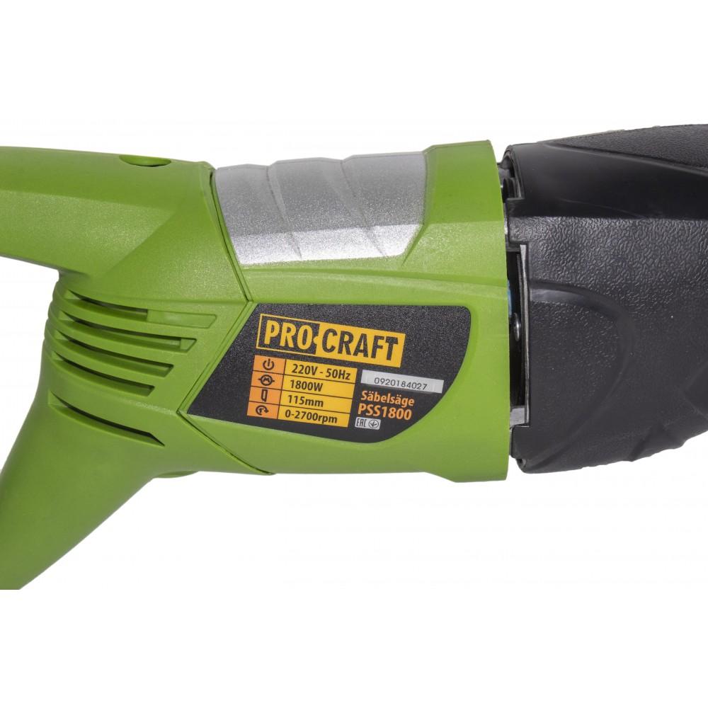 Fierastrau tip sabie Procraft PSS1800, 1800 W, 2700 RPM, 2 lame